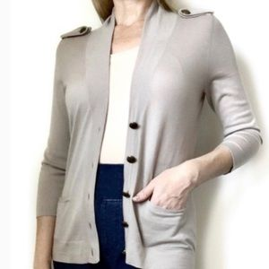 Theory Beige Cardigan Womens Small Button Down